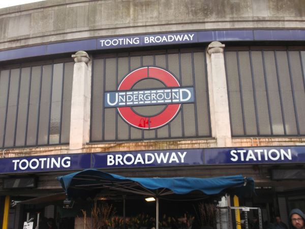 this is tooting broadway station in south london as i reaturn from 1993 to walk again with the men