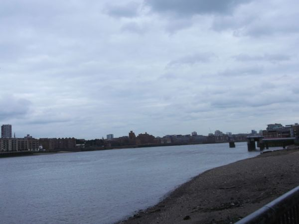 and this is the river thames as one looks towards london from rotherithe