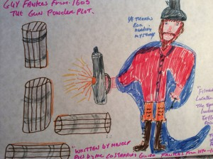 Guy Fawkes from 1605as he watches the gun powder with his trusty old lamp
