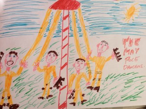 The May pole dancers with bells on there legs in England when they dance around the May pole