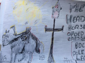 The famous headless horseman of pole cat lane in olde cressing village in 1992